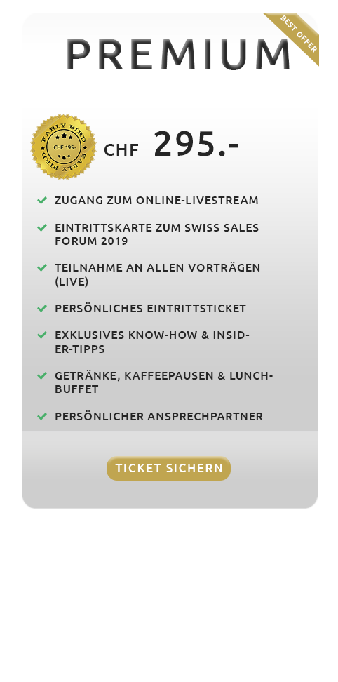 Angebot - Vip - Swiss Sales Forum 2019